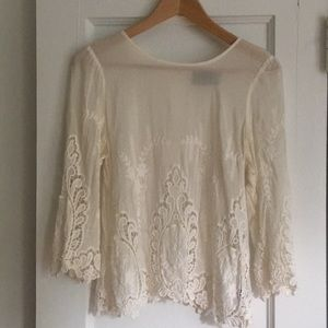 Anthropologie White Lace 3/4 Sleeve Blouse